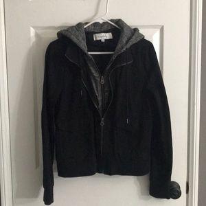 Cute two zipper black jean jacket